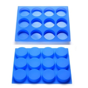 12 cavities round shape silicone soap mold blue