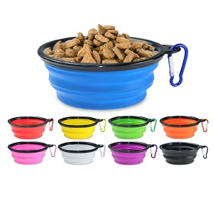 Collapsible silicone pet food bowl with carabiner