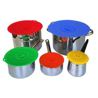 Microwavable 5pcs set silicone suction lid for bowls plate pots pans