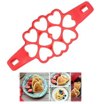 10 cavities heart shape silicone pancake maker egg ring mold